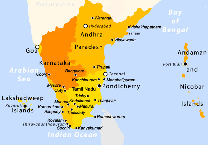South India locations